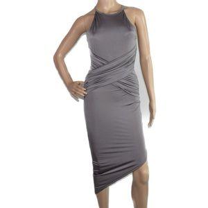 Silver Bodycon Dress with a symmetric hem